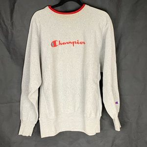 Champion Grey Sweater with Red Neck and Print